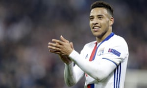 Corentin Tolisso in action of Lyon in the Europa League.