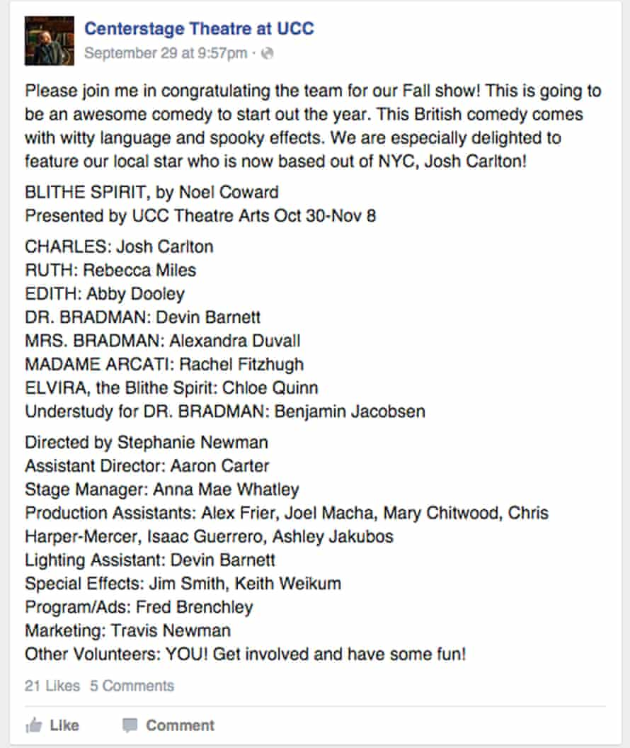 A post on Facebook showing the name of Chris Harper Mercer, the alleged gunman in the Oregon shootings, 2 October 2015. Harper Mercer is named as a production assistant in the post.