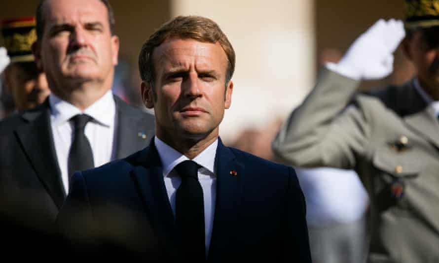 Emmanuel Macron, seen here at a ceremony for the late French actor Jean-Paul Belmondo in Paris, remains favourite in the polls.