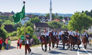 Horse riders take part in Ajvatovica procession in Bosnia