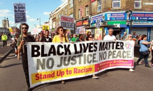 Demonstrators commemorate the fifth anniversary of the death of Mark Duggan