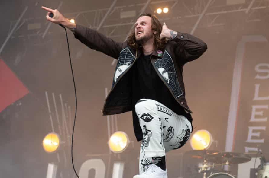 Lawrence Taylor of While She Sleeps on stage.