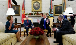 Trump with Schumer and Pelosi earlier in December. They said: 'Instead of bringing certainty into people's lives, he's continuing the Trump Shutdown just to please rightwing radio and TV hosts.'