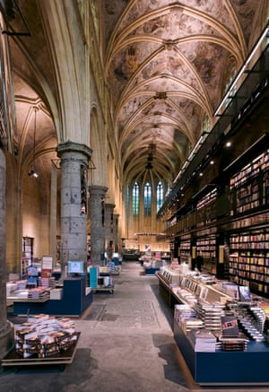 Bookshop Dominicanen in Maastricht, the Netherlands. is built within the walls of a 13th century Gothic church building.