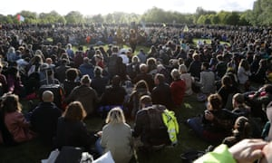 Very large group of Extinction Rebellion protesters in Hyde Park