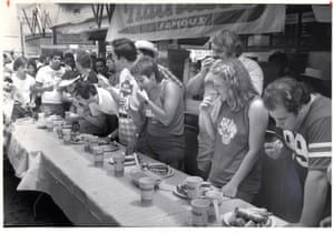 The first recorded hot dog eating contest in 1972, won by Jason Schechter, who ate 14