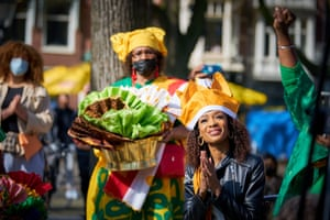 The Hague, Netherlands. Anti-racism campaigner and former TV presenter Sylvana Simons greeted by members of the Surinamese community on the day of the inauguration of the newly-elected senate after she won a seat with her Bij1 party