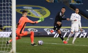 Aston Villa's Anwar El Ghazi scores the opener.