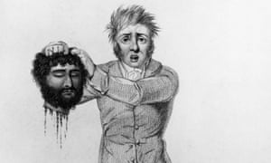 An illustration showing the head of the revolution's leader, Jeremiah Brandreth, being shown to the crowds