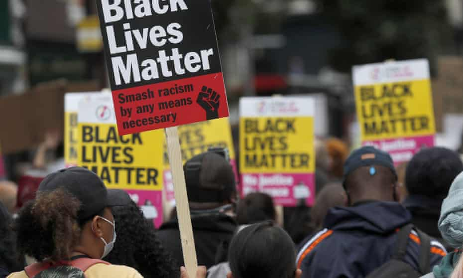 Black Lives Matter protesters march through west London in August 2020