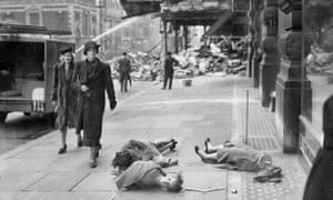 Mannequins blown onto the pavement after a bombing raid on London.
