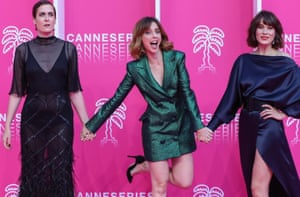 Cannes, FranceSpanish actresses Aixa Villagran, Leticia Dolera and Celia Freijeiro during the closing of the 2019 Cannes International Series festival Canneseries at the Palais des festival.