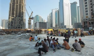 Migrant workers on a building site in Qatar