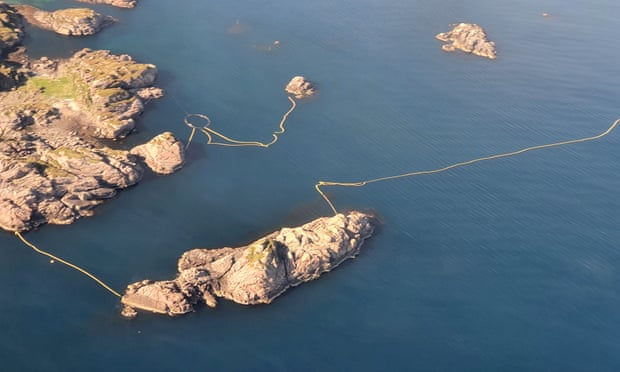 Aerial images show that nets up to a mile wide are in place in northern Norway to herd migrating whales into an enclosure. Photograph: WDC