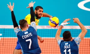 Brazil's Wallace in action against Argentina. Brazil fought back from two sets down to win 3-2.