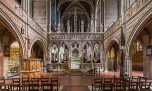 the interior of St Augustine's Church, Kilburn, UK.