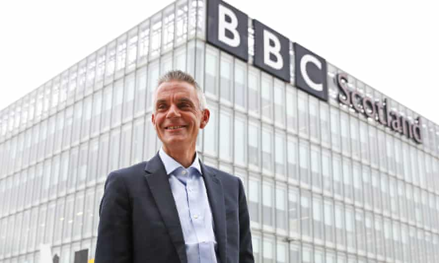 Tim Davie arrives at BBC Scotland in Glasgow for his first day as director general.