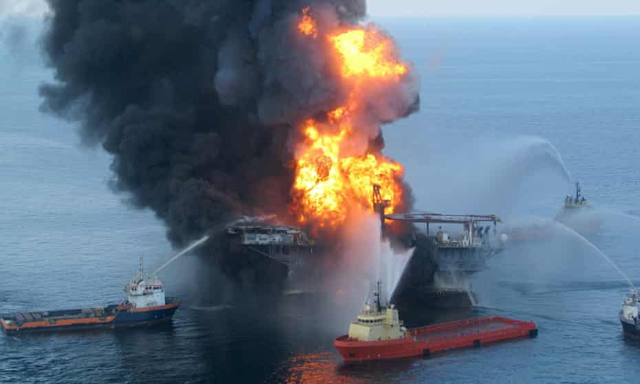 Photo taken on 21 April 2010 by the US Coast Guard shows fire boat response crews as they battle the blazing remnants of the BP Deepwater Horizon in the Gulf of Mexico.