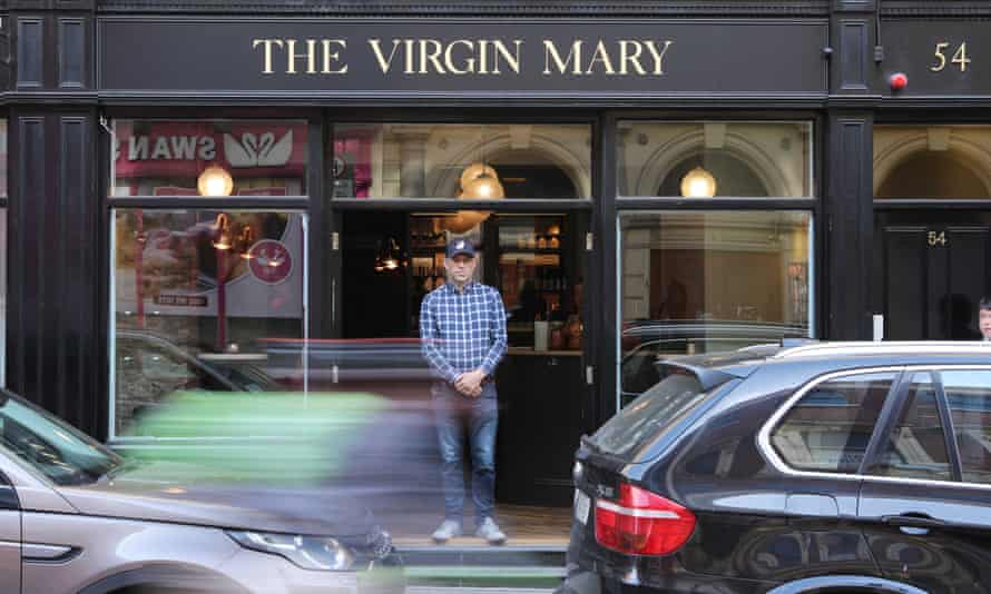 Vaughan Yates, outside his bar, The Virgin Mary