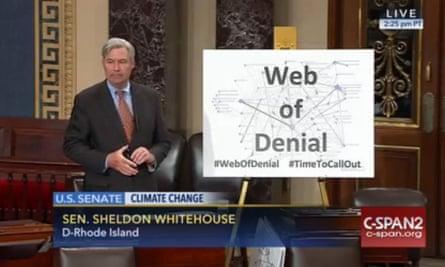 "A screenshot as US Senator Sheldon Whitehouse spoke about the climate science ""web of denial""."