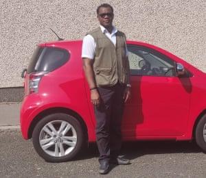 Ehikioya with his car.