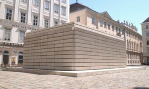 Holocaust memorial sculpture, a white cube of concrete blocks, by Rachel Whiteread in Judenplatz, Vienna, Austria.