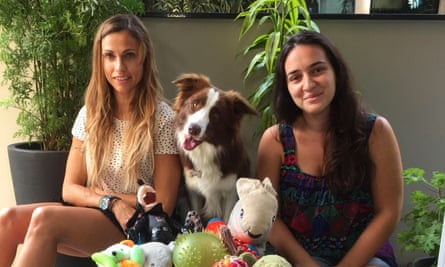 Claudia Fugazza, left, with one of the contestants, Gaia, and her owner.