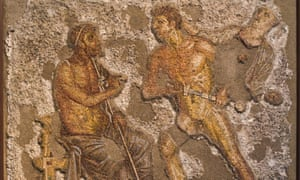 Achilles confronting Agamemnon in a scene from the Iliad, shown on a mosaic from Pompeii.