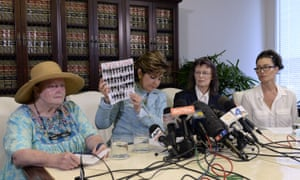Gloria Allred holds copy of a recent New York magazine showing alleged assault victims of Bill Cosby. The number of accusers is now more than 40 women.