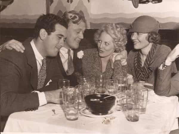 Jean Malin and friends Pat DiCicco, Thelma Todd and Lois Wilson at the club New York in Hollywood.