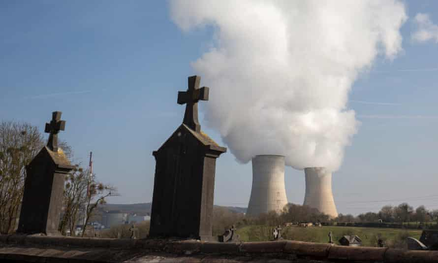 A view from a cemetery of the nuclear power plant in Tihange, Belgium.