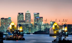 Canary Wharf with Thames Barrier