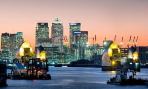 The Thames Barrier with Canary Wharf in the background