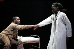 Lucian Msamati as Pericles with Ony Uhiara as Marina.