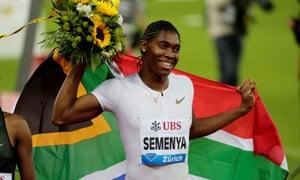 Caster Semenya celebrates winning the 800m in the Diamond League in Zurich in 2018.