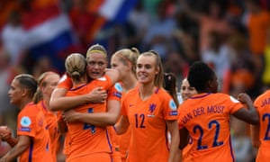 Holland's players celebrate after sealing their place in the Euro 2017 semi-finals.