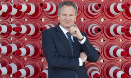 Robert-Jan Smits surrounded by red traffic cones