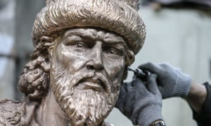 A worker adds the finishing touches to Russia's first ever monument to Ivan The Terrible.