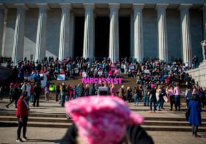 People gather on the steps of the Lincoln Memorial during the Women's March.