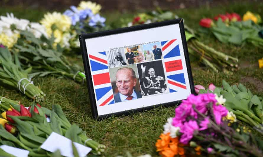 Flowers and messages left outside Windsor Castle in memory of Prince Philip, April 2021