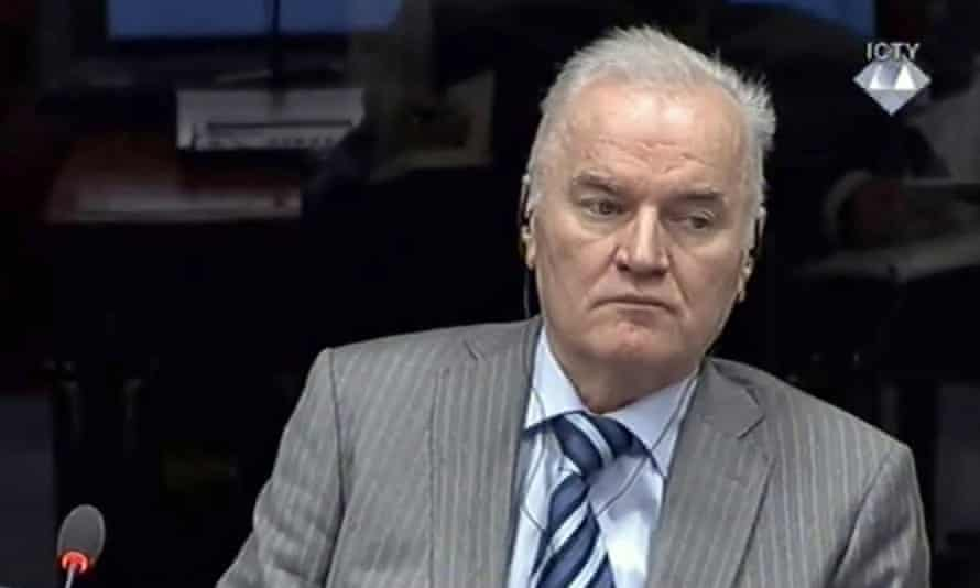 Ratko Mladić in the court of the UN tribunal in 2014.