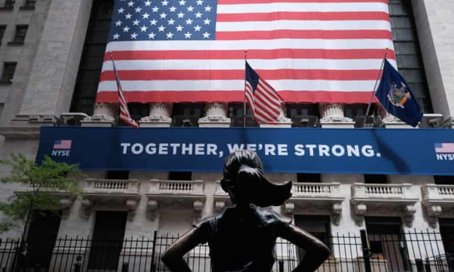 The New York Stock Exchange (NYSE) in lower Manhattan. On Tuesday traders were allowed back for the first time in more than two months.