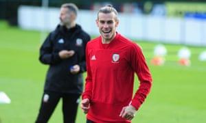 Gareth Bale au Pays de Galles s'entraînant à Cardiff en vue du match en Slovaquie.