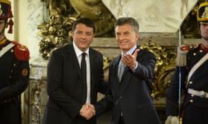Italian prime minister Matteo Renzi (left) meets Argentina's president, Mauricio Macri, in Buenos Aires.