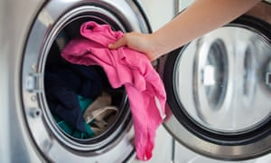 Thousands of plastic microfibers are shed when synthetic clothes get washed.