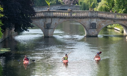 Kayaking on the River Cam in June.