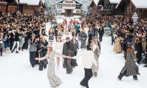Models walk the runway during the finale of the Chanel show at  Paris fashion week.