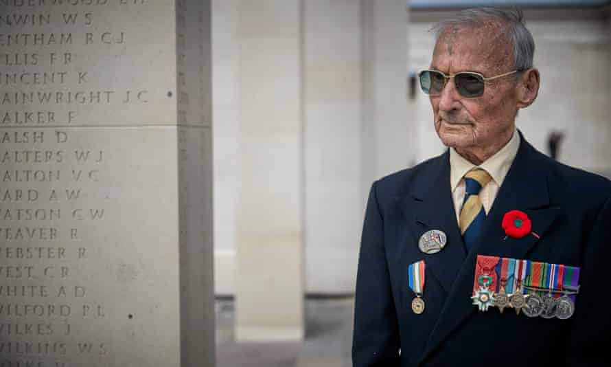 British veteran David Mylchreest attends the official opening of the British Normandy memorial.