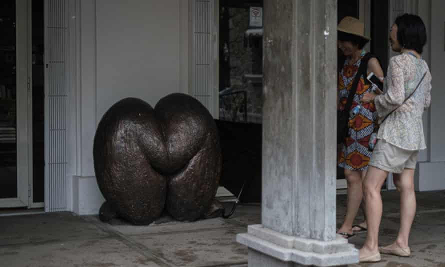 A sculpture of a coco de mer shell in front of a post office on Mahé island, Seychelles, November 2019