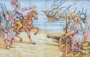 Tiles depict Hernán Cortés arriving in Mexico as his vessels burn.